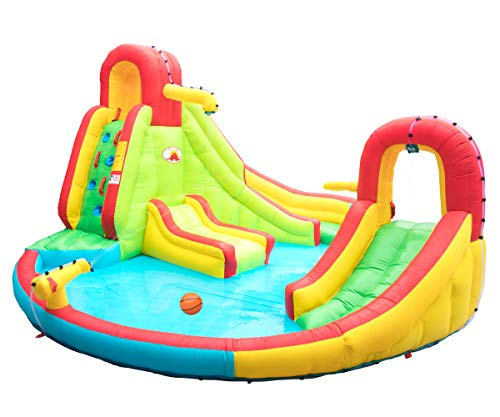 WELLFUNTIME Heavy Inflatable Water Slide Park, Double Slide Climbing Wall Fountain for Outdoors, Equipped with Air Blower
