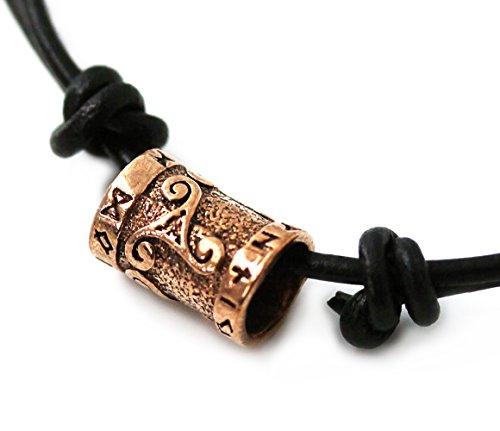 ecklace Bronze Celtic Knot Triskelion Runes Norse Bead Pendant Black Leather Cord (Surf Surfer Leather Necklace)