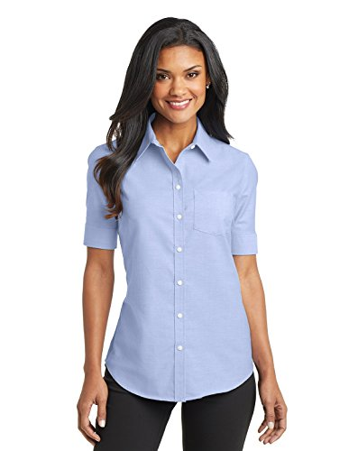 Women Port (Port Authority Ladies Short Sleeve SuperPro Oxford Shirt, Oxford Blue, Large)