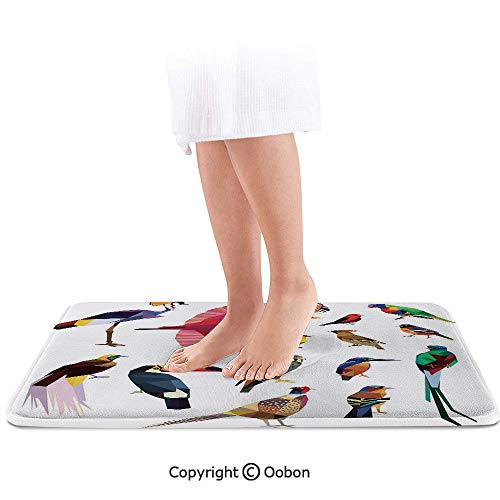 Flying Birds Decor Bath Mat,Colored Collection of Bird Set with Poly Design Triangle Mosaic Illustration for Living,Plush Bathroom Decor Mat with Non Slip Backing,24 X 17 Inches,Multi
