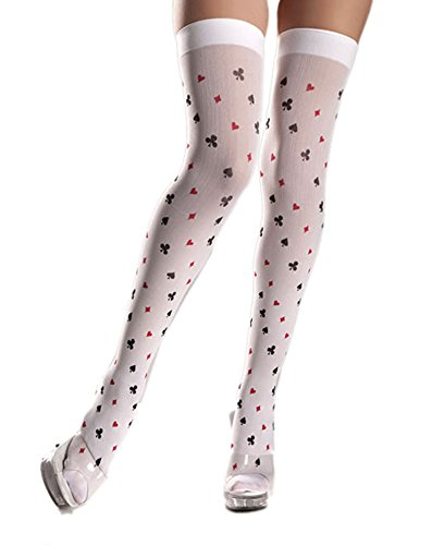 Costume Adventure Women's White Playing Card Thigh Hi Stockings Hosiery (Playing Card Joker Costume)