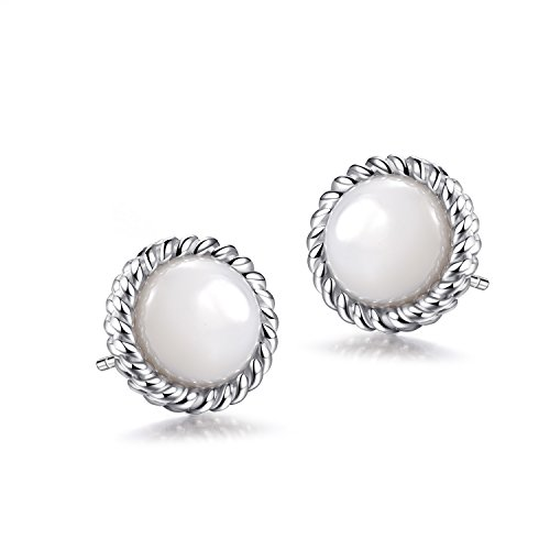 Pearl Rope Earrings (925 Sterling Silver Round Cut Natural Gemstone Mother-of-Pearl Rope Stud Earrings (Natural Mother-of- Pearl))