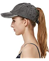 Leotruny Women Washed Cotton High Ponytail Baseball Cap (C08-Distressed Black)