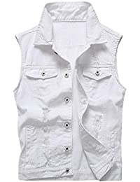 Mens Fashion Single Breasted Ripped Sleeveless Denim Vest