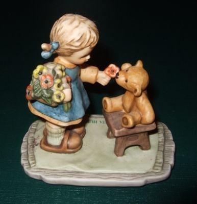 Goebel With Love BH 66 - Girl Giving Flowers to Teddy Bear Inspired by Berta Hummel