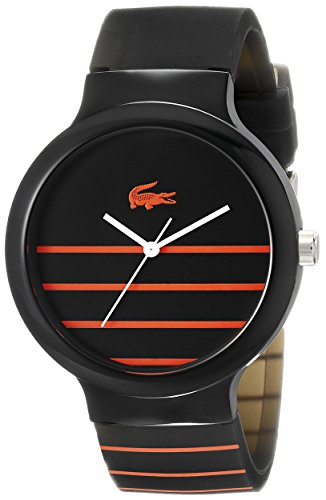Lacoste Unisex 2020088 Goa Stripe Black Watch With Black Silicone Band (Mens Black Movado Watch)