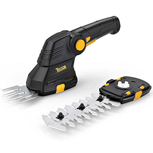 TECCPO Grass Shears, 3.6V Cordless Grass and Shrub Shears/Hedge Trimmer, 1.5Ah Rechargeable USB Lithium Battery 2 in 1 Fast Tool-Less Switch, with Pivoting Handle, Ideal for Garden - TDGS01G by TECCPO