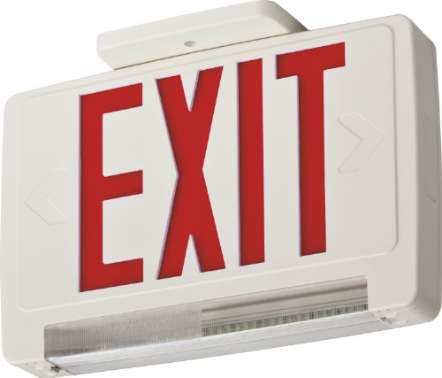 Lithonia Lighting ECBR M6 LED Exit and Emergency Light Bar Combo Fixture with Back Up Battery, 3 Watts, Damp Listed, Red Letters