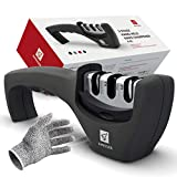 Kitchen Knife Sharpener - 3 Stage Knife Sharpening Tool Sharpens Chef's Knives - Kitchen Accessories Help Repair, Restore and Polish Blades Quickly, Food Safety Cut Resistant Glove Included, Black