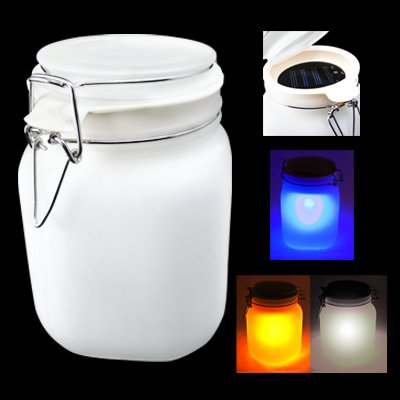 Expocell Frosted Glass Solar Fireflies Jar Lamp - Blue / ...