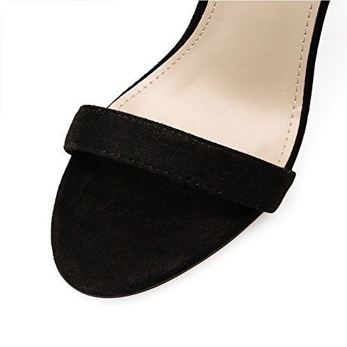 Mujeres uk5 Mujer Negro Para Eu38 Eu37uk455 Zipper De Sandalias Stiletto 5 Highxe Alto 5 Mouth Suede Tacón Fish qx6X4nP