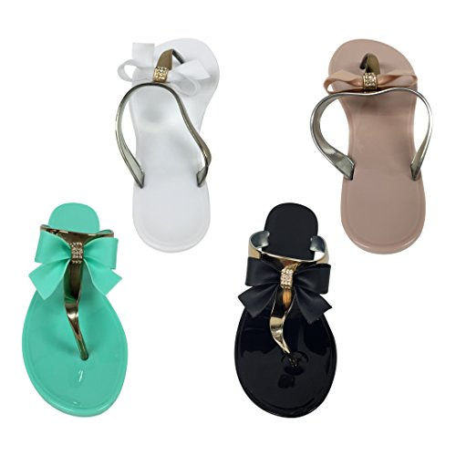 f97eb6617 VeeVee Women s Jelly Sandals With Bow and Metallic straps - 4 Colors - Buy  Online in Oman.