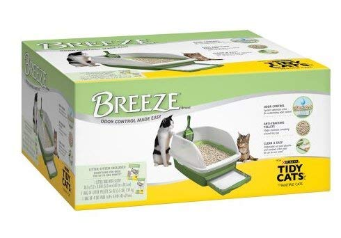 BREEZE Anti-Tracking Pellets Cat Litter Box Starter Kit for Multiple Cats Box, Multicolor