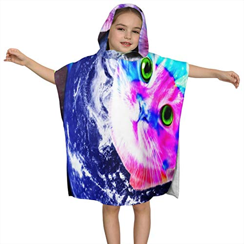 - ZHOUSUN Extra Large Super Soft and Absorbent Hooded Poncho Bath Towel,Cute Galaxy Cat Pool Towel for Girls