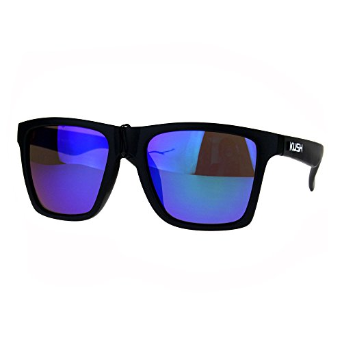 Kush Mens Color Mirrored Lens Matte Frame Rectangular Sport Horn Rim Sunglasses Teal - Dope Sunglasses