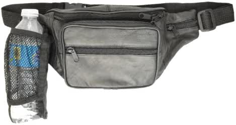 Leather Large Fanny Pack Waist Bag With Water Bottle Holder By Marshal