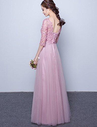 Hochzeit Brautjungfernkleid Abendkleider Ausschnitt Pailletten ELegant Lang Stahlblau V für LuckyShe Damen qf66O