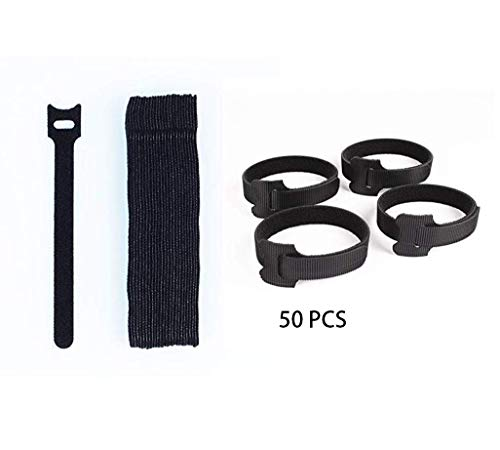 CrazyWa 50 pcs Reusable Cable Ties Velcro,Cable Ties,Cable Management,Cable Organizer,Hook and Loop Cord Ties, Black, Cloth ()