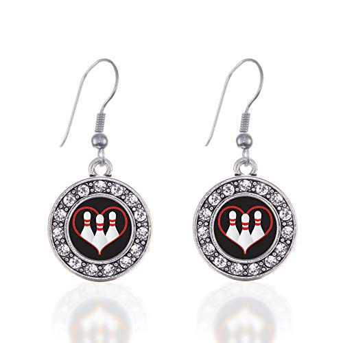 Inspired Silver - I Heart Bowling Charm Earrings for Women - Silver Circle Charm French Hook Drop Earrings with Cubic Zirconia Jewelry
