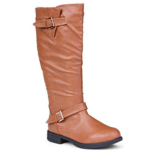 Twisted Women's Amira Wide Calf Knee-High Riding Boot- Cognac, Size 11