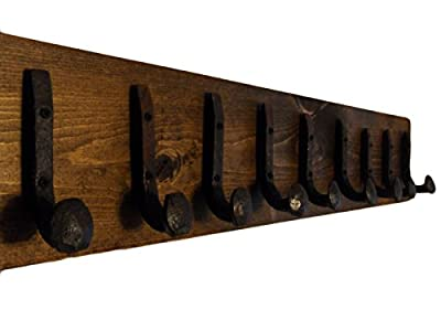 Heavy Duty Coat Hat Robe Tool Towel Hook Rail Rack Wall Mount Storage Display Rustic Holder Architectural Reclaimed Organizer Kitchen Bathroom Foyer Bedroom Closet Garden Garage Accessory Wooden Antique Vintage Metal