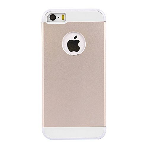 iPhone SE/5S Case: Amplim® New Slim Fit Luxury Gold Color Hard Aluminum Metal + Pretty White Plastic + Soft Silicone Rubber Back Shell Protection. Dual Layer Protector (APPLE-PHONE-5-PROTECTIVE-COVER)