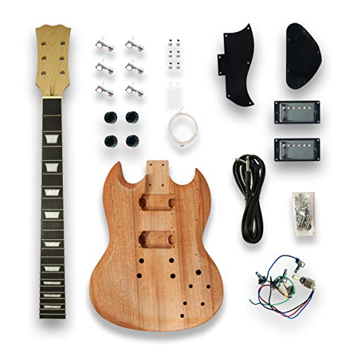 DIY SOLO SG Style Electric Guitar Kits Mapel Neck okoume