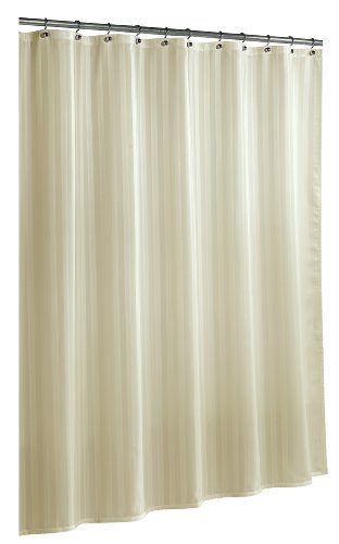 Ex-Cell Home Fashions By Appointment Woven Stripe Damask Fabric Shower Curtain Liner, (Ivory Stripes Curtain)