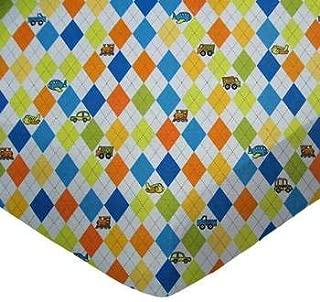 product image for SheetWorld Crib Sheet Set - Argyle Blue Transport - Made In USA
