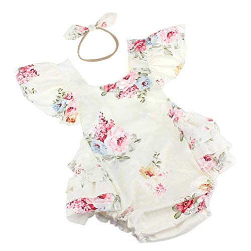 (Baby Girls Cotton Vintage Floral Ruffle Rompers Clothing Headband Set (White, 1-2 T))