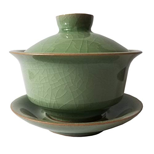 Gaiwan 4oz Kung Fu Teacups and Saucer Set Cracked Glazed Porcelain Handmade Celadon(1, Army Green)
