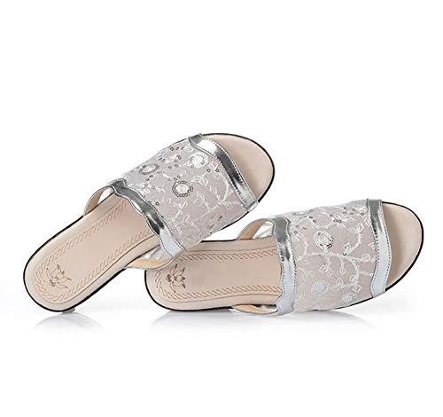 Femmes Moyen Outdoor Pantoufles Sandales Wedges Summer Pour Silver D'âge Oq55wzv
