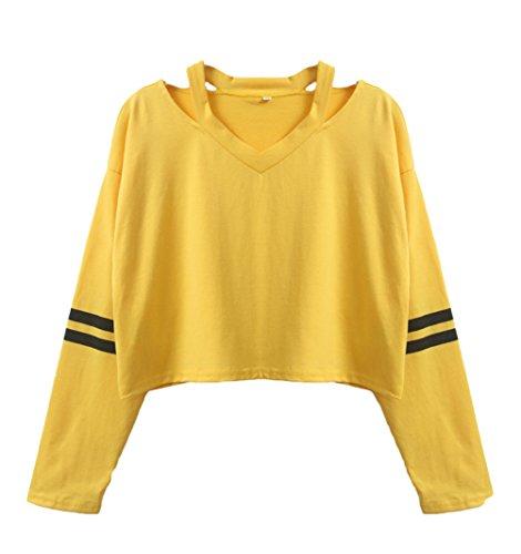 Lunga Neck Solido Crop T Donna Magliette Ragazze Shirt Felpa Manica Elegante Top Larghi Moda Camicia Giallo Tumblr Casual Abbigliamento Corto V n0gqqAxX