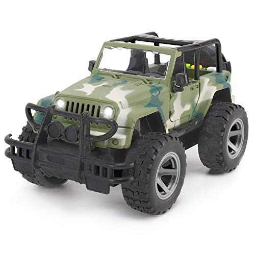 Liberty Imports Friction Powered Off-Road Wrangler Vehicle 1:16 Realistic Toy Jeep Car with Lights and Sounds