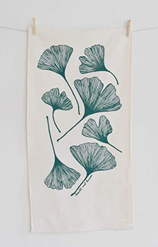 Ginkgo Leaf Flour Sack Tea Towel in Dark Green - Kitchen Towel - Flour Sack Towel - Cotton Dishcloth - Modern Kitchen Decor ()