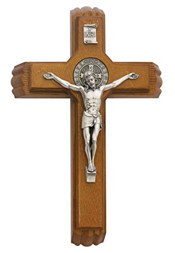 Saint Benedict Sick Call Last Rites Walnut Wood Silver Corpus Religious 13 Inch Wall Cross Crucifix