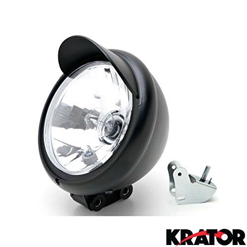Krator Universal Motorcycle Headlight Lamp Light Black Custom Cruiser Touring Chopper for any Harley, Honda, Yamaha, Suzuki, Kawasaki, Custom Bike, Cruiser, Choppers (Aftermarket Motorcycle Headlights compare prices)