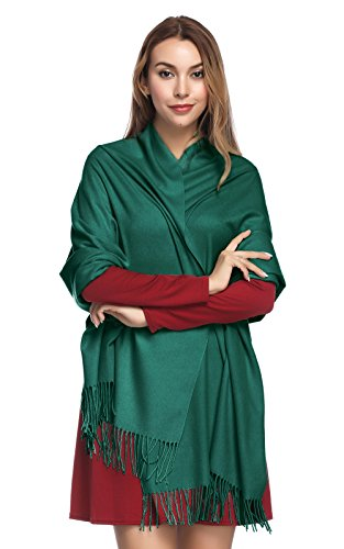 Pashmina Shawls and Wraps for Women - PoilTreeWing Solid Color Cashmere Scarfs(Green)