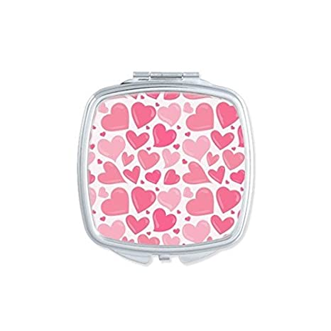 Valentines Day Pink Cute Heart Repeat Wallpaper Pattern Square Compact Makeup Pocket Mirror Portable Small