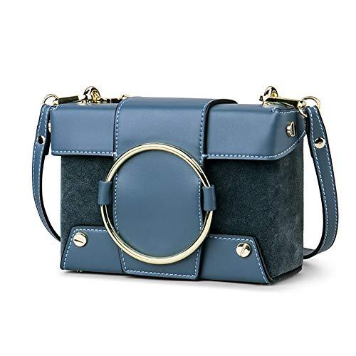 Cuero Con Bolso De De De Cuadrado De Elegante Bolso WUDIXIAOMEIZI Vintage Bolso Blue Hombro Para Mujer Contraste Metal Cadena BwaEO