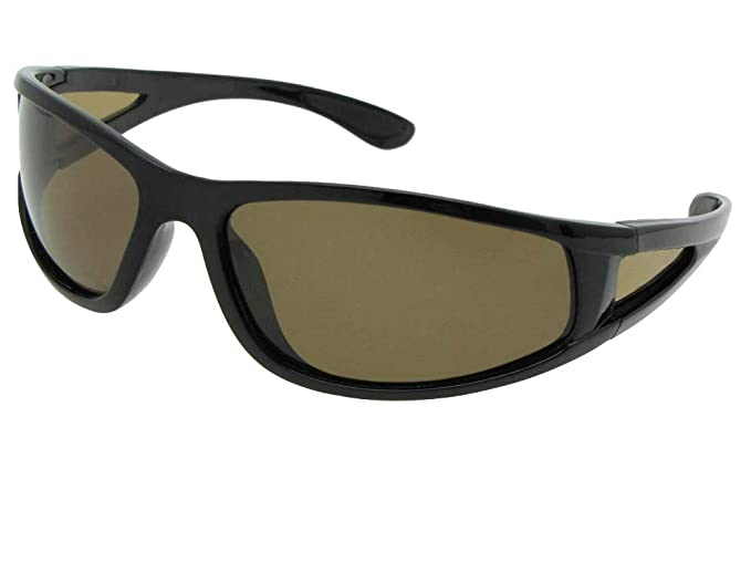 af12030c6e Polarized Wrap Around Sports Sunglasses With Sunglass Rage Pouch (Black  Frame-Brown Lenses)