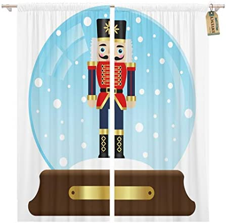 Golee Window Curtain Christmas of Snow Globe Nutcracker Cold Happiness Merry Snowflakes Home Decor Pocket Drapes 2 Panels Curtain 104 x 63 inche
