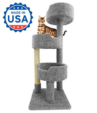Tower for Large Cats in Gray Carpet 52 inch Tall Kitty Tree Three Beds and Sisal ()