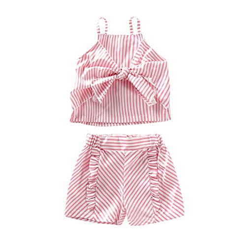Toddler Baby Girl Striped Halter Ruffled Outfits Set Strap Crop Tops+Short Pants 2 PCS Clothes Set (Pink, 2-3 Years)