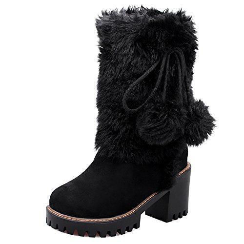 On KemeKiss Boots Warm Lined Black Pull Women w4CUq8v
