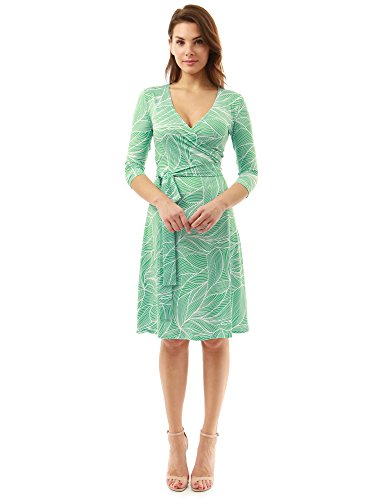 PattyBoutik Women Faux Wrap A Line Dress (Green and White 10 Small)