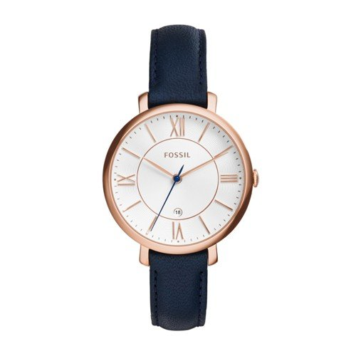 Fossil Women's Jacqueline Quartz Stainless Steel and Leather Casual Watch, Color: Rose Gold-Tone, Blue (Model: ES3843) from Fossil