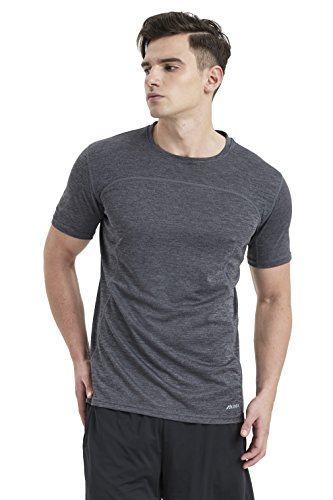 Akilex Mens Tight Sports Short Sleeve Comfortable Quick Dry Fitness Running Shirt Top (3011 Grey, M (Chest 40-40.5 inch))
