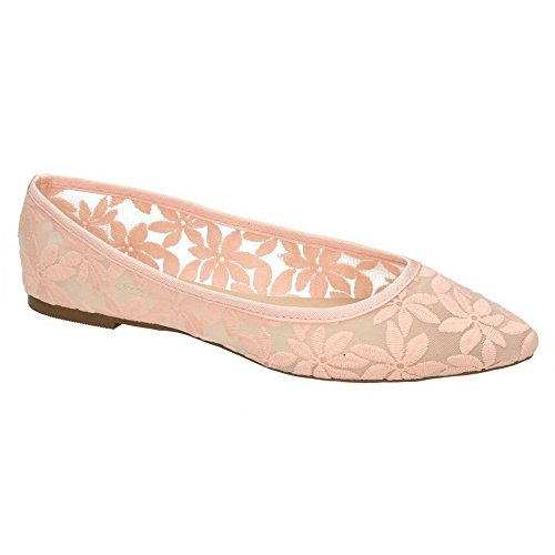 Womens Ballerinas Flowery White Spot On Ladies 5IwARnqFx