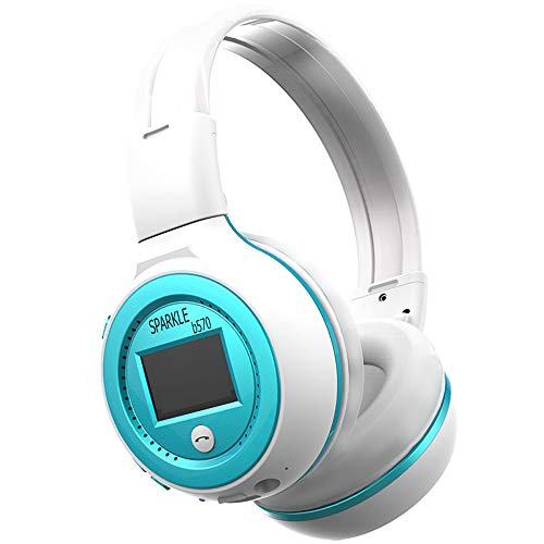 YSM Bluetooth Headset, Head-Mounted - FM Wireless Headset with Microphone, Suitable for Fitness, Everyday,whitewithblue (Wholesale Ipod Fm Transmitters)
